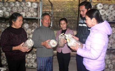 Nhiều gia đình hội viên nông dân xã Việt Thành, huyện Trấn Yên trồng nấm cho thu nhập cao.