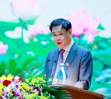 Đồng chí Huỳnh Tấn Việt, Uỷ viên Trung ương Đảng, Bí thư Đảng uỷ Khối các cơ quan Trung ương phát biểu bế mạc Đại hội.