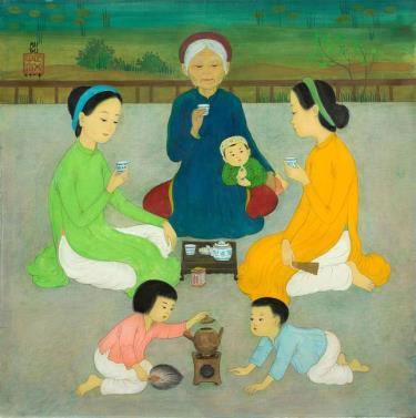 """Bức """"La cérémonie du thé"""" (Trà đàm) của Mai Trung Thứ."""