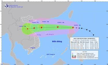 Vị trí và đường đi của cơn bão Kompasu. (Nguồn: nchmf.gov.vn)