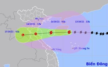 Vị trí và hướng di chuyển của bão số 8.