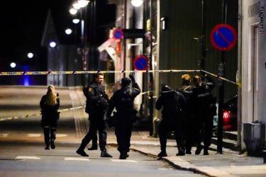 Cảnh sát có mặt tại hiện trường các vụ tấn công bằng cung tên ở Kongsberg, Na Uy hôm 13/10