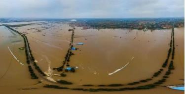 Nước lũ vây quanh Bình Dao, nơi có di sản Thành cổ Bình Dao được UNESCO công nhận là di sản văn hóa thế giới, hồi đầu tháng này.