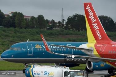 Máy bay chở khách của Vietnam Airlines và Vietjet - hai hãng hàng không lớn của Việt Nam.