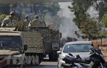 Binh sỹ Liban được triển khai tới hiện trường vụ đấu súng tại khu vực Tayouneh ở thủ đô Beirut ngày 14/10.