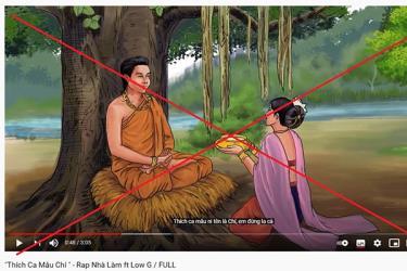 Bản nhạc gây tranh cãi của kênh YouTube Rap Nhà Làm với hình minh họa được chế từ một điển tích Phật giáo.