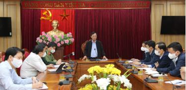 Chủ tịch UBND tỉnh Phú Thọ Bùi Văn Quang phát biểu chỉ đạo công tác phòng chống dịch COVID-19