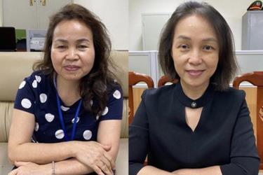 Nguyên Phó giám đốc Bệnh viện Tim Hà Nội Hoàng Thị Ngọc Hưởng (trái) vừa bị khởi tố bắt tạm giam.
