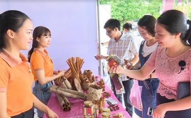Tỉnh Yên Bái sẽ có đại diện 30 doanh nghiệp, HTX tham gia Hội nghị kết nối giao thương trực tuyến tổ chức vào ngày 28/10 tới. (Trong ảnh: Nhiều khách hàng tìm đến với các sản phẩm quế của huyện Văn Yên).