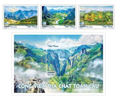 Bộ tem Công viên địa chất toàn cầu gồm 3 mẫu tem và 1 blốc.