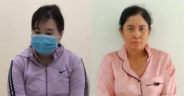 Đối tượng Nguyễn Thị Mận (trái) và đối tượng Trần Thị Loan (phải) tại Cơ quan Công an.