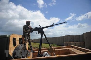 Binh sỹ Somalia được triển khai tại căn cứ quân sự Sanguuni, Somalia.