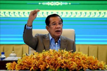 Thủ tướng Campuchia Samdech Techo Hun Sen tại cuộc họp báo ở Phnom Penh.