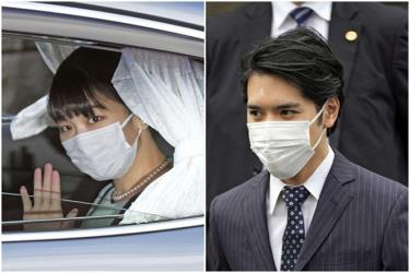 Công chúa Mako và hôn phu Kei Komuro trong ngày kết hôn.