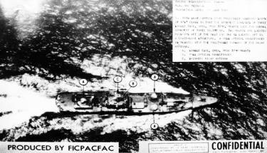 Tàu vận tải cao tốc 235, Đoàn 125 do Thuyền trưởng Nguyễn Phan Vinh chỉ huy đang trên đường vận chuyển vũ khí vào chiến trường miền Nam, tháng 2/1968. Ảnh: Tư liệu của Mỹ