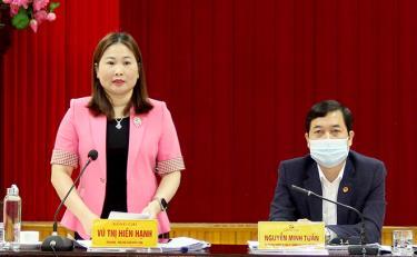 Phó Chủ tịch UBND tỉnh Vũ Thị Hiền Hạnh phát biểu tại Hội nghị.