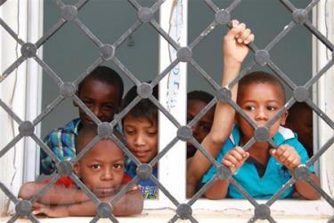 Trẻ em Libya tại một trại tị nạn ở Bani Walid.