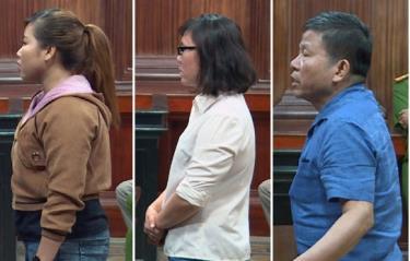Các bị cáo Nguyễn Thị Ánh,  Trần Thị Nhài, Châu Văn Khảm tại tòa (từ trái qua phải)