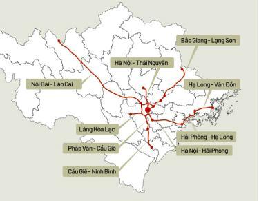 Bản đồ 9 tuyến cao tốc phía Bắc.