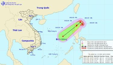 Vị trí và hướng di chuyển của bão Kalmaegi.