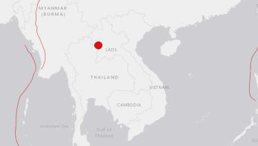 Vị trí xảy ra động đất ở tây bắc Lào sáng nay.