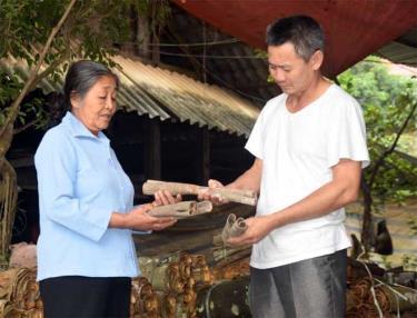 Bà Trần Thị Thịnh - Bí thư Chi bộ, Trưởng ban Công tác Mặt trận thôn 5 Khe Sấu, xã Đào Thịnh, huyện Trấn Yên thăm cơ sở chế biến quế trong thôn.