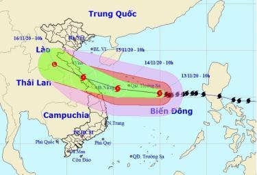 Vị trí và hướng di chuyển của bão số 13.