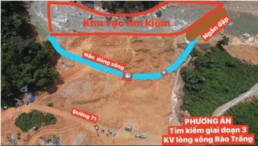 Kế hoạch dự kiến đoạn sông sẽ được ngăn đập và nắn dòng tại Rào Trăng.