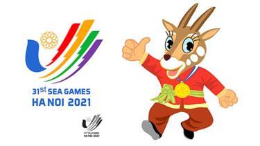 Biểu trưng Cánh chim bay lên - bàn tay chữ V và linh vật (Sao La) của SEA Games 31.