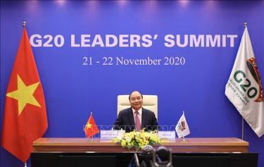 Thủ tướng Nguyễn Xuân Phúc dự phiên thảo luận Hội nghị thượng đỉnh nhóm các nền kinh tế phát triển và mới nổi hàng đầu thế giới (G20) ngày 22-11-2020