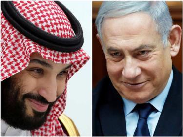 Thủ tướng Israel Benjamin Netanyahu (phải) được cho là đã bí mật gặp Thái tử Mohammed Bin Salman của Ả Rập Xê út.