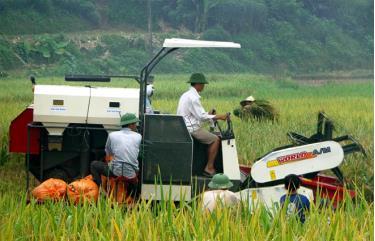 Nông dân Yên Bái cơ giới hóa trên đồng ruộng
