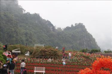 Du khách tham quan các địa điểm du lịch tại Bình nguyên xanh Khai Trung, xã Khai Trung, huyện Lục Yên.