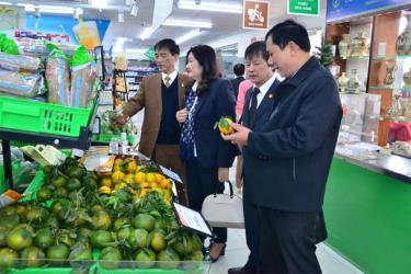 Các đại biểu tham quan trưng bày sản phẩm hàng nông sản tỉnh Yên Bái tại siêu thị Hapromart C13, Thành Công, Hà Nội.