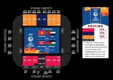 Mức giá vé xem các trận đấu của U23 Việt Nam tại sân Buriram.