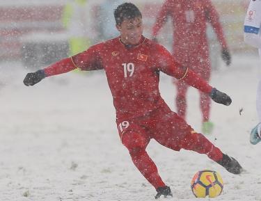 Quang Hải ghi bàn gỡ hòa cho U23 Việt Nam trong trận chung kết Giải U23 châu Á 2018
