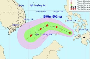 Vị trí và hướng di chuyển của áp thấp nhiệt đới.