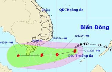 Vị trí và hướng di chuyển của bão số 14.