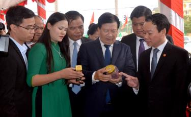 Deputy Prime Minister Trinh Dinh Dung and leaders of ministries, sectors and Yen Bai visit booths introducing OCOP products of provinces.