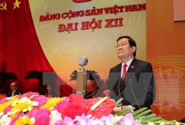 Đồng chí Trương Tấn Sang, Ủy viên Bộ Chính trị, Chủ tịch nước CHXHCN Việt Nam đọc Diễn văn khai mạc Đại hội.
