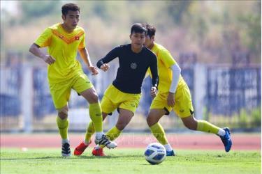 U23 Việt Nam trong buổi tập cuối cùng tại Buriram trước khi di chuyển tới Bangkok.