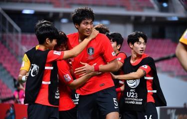 Jeong Tae-Wook (số 5) mang chức vô địch về cho U23 Hàn Quốc. (Nguồn: AFC)