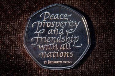 Đồng tiền xu kỷ niệm ngày Anh rời EU.