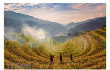 Mu Cang Chai, a remote district which is home to breathtaking terraced rice fields in Vietnam's northern province of Yen Bai.