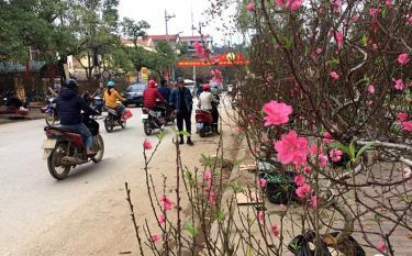 Phố huyện Văn Yên ngày giáp tết.  Ảnh MQ
