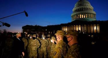 Lực lượng chức năng được huy động bên ngoài Tòa nhà Capitol ở thủ đô Washington DC của Mỹ.