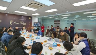 Quang cảnh cuộc gặp gỡ báo chí phát động Giải thưởng Sao Khuê 2021 diễn ra ngày 21-1 tại Hà Nội