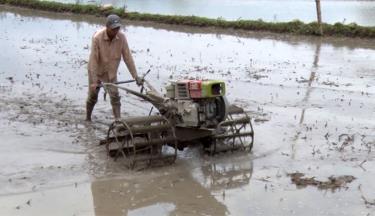 Nông dân huyện Văn Chấn làm đất chuẩn bị cấy lúa xuân 2021.