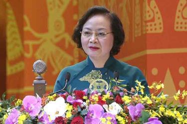 Thứ trưởng Bộ Nội vụ Phạm Thị Thanh Trà phát biểu tại Đại hội.
