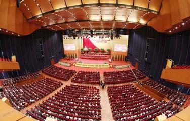 Toàn cảnh phiên thảo luận các văn kiện Đại hội XIII của Đảng tại hội trường Trung tâm Hội nghị Quốc gia, sáng 28/1